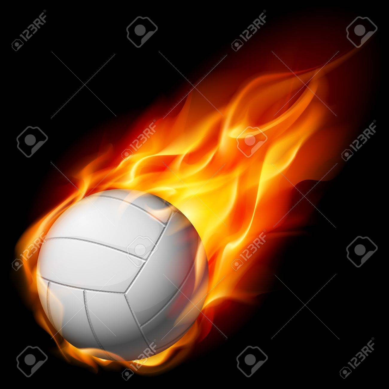 Fire Volleyball Illustration On White Background Royalty 1300x1300