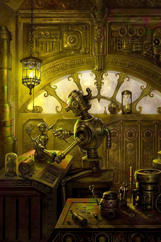 Steampunk Robots Repair Workshop   iPad iPhone HD Wallpaper 640x960