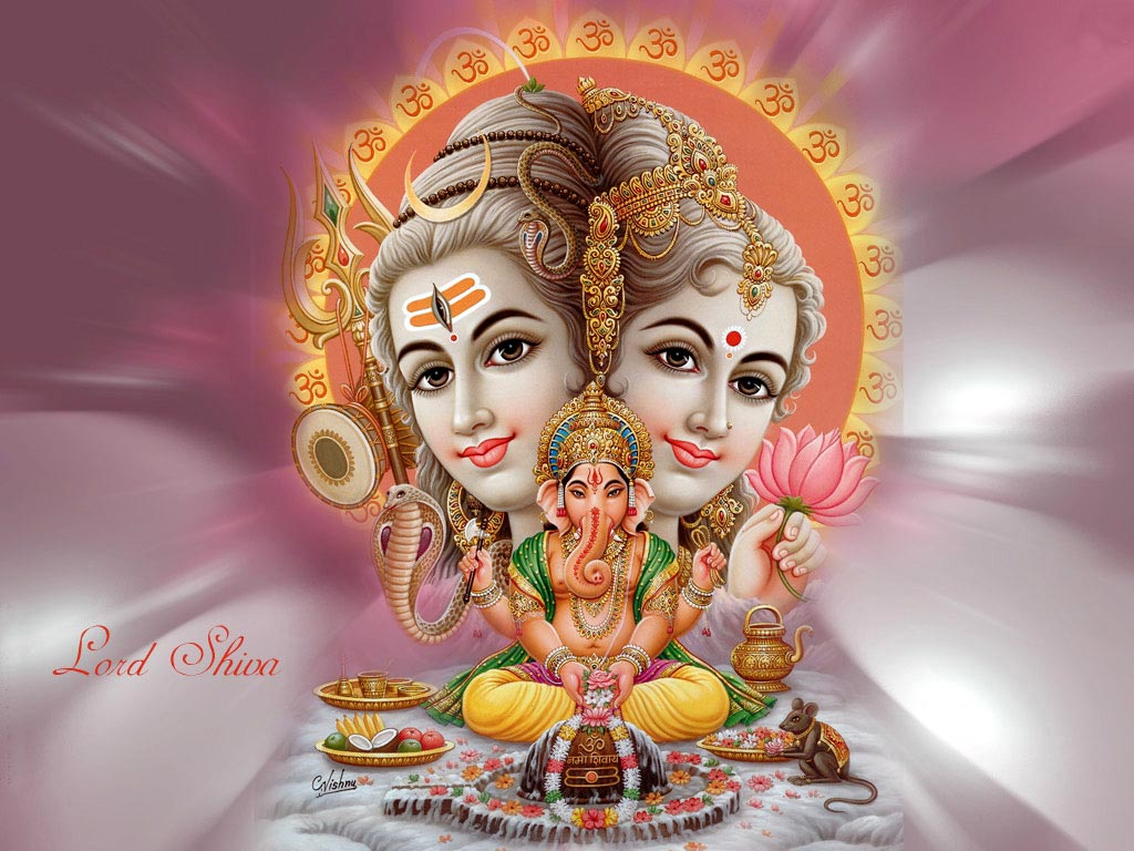 Download Lord Ganesha Lord Shiva Parvati Wallpaper   Full HD Wallpaper 1024x768