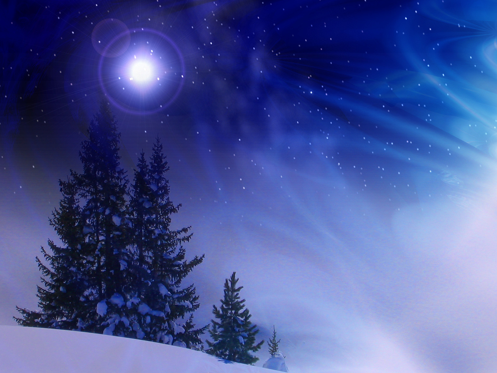 Christmas Winter Night wallpapers and images 1600x1200