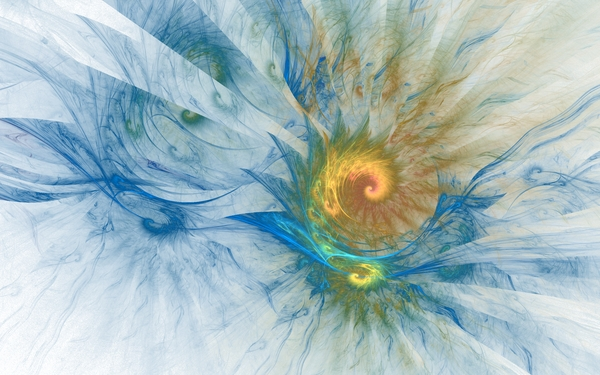 blue white yellow waves fractals spiral rainbows Waves Wallpaper 600x375