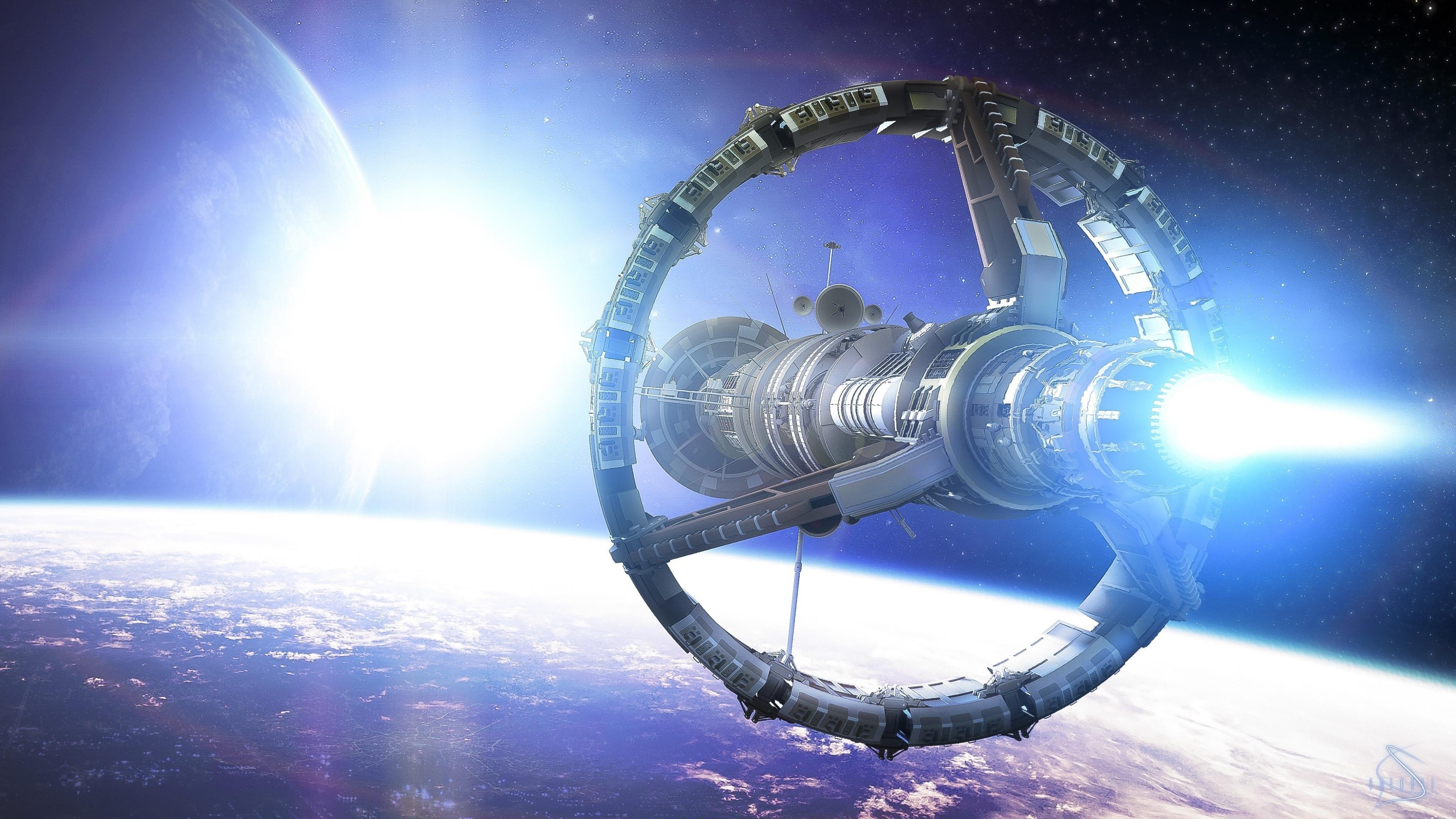 3840x2160 Wallpaper space planet ship art star 3840x2160