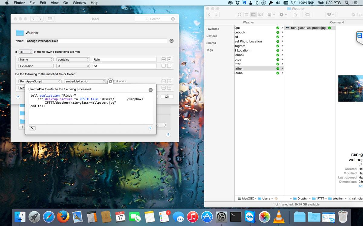 Change Mac Wallpaper When Its Raining using automation tools IFTTT 1200x750