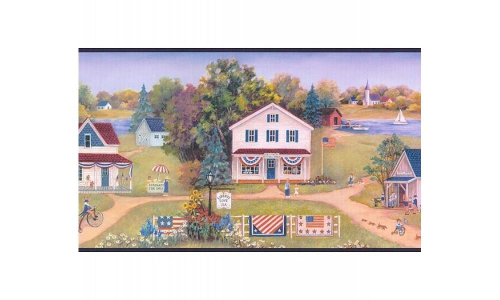 Home Blue and Green Americana Landscape Wallpaper Border 1000x600