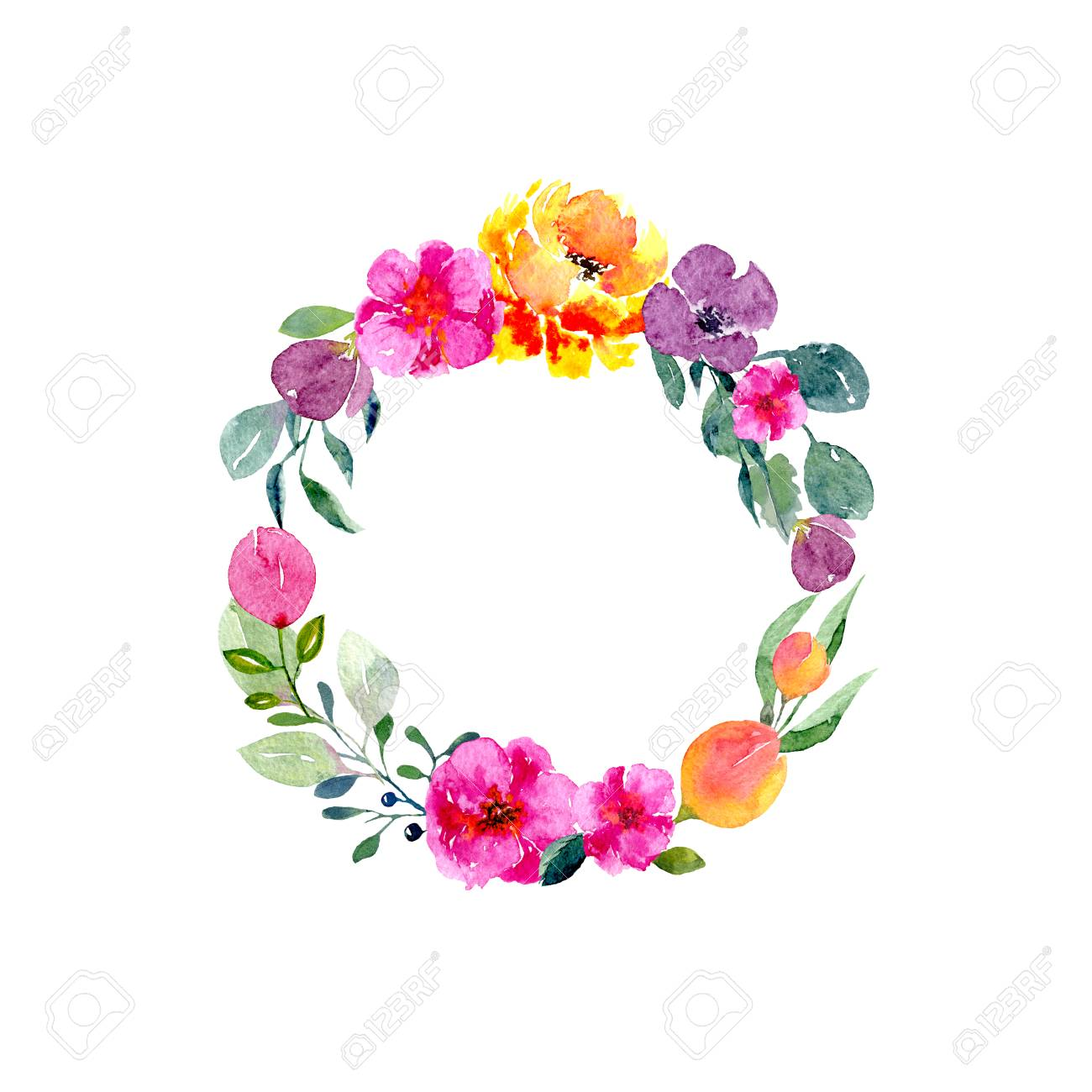 Watercolor Floral Wreath Background With Frame Of Fresh Spring 1300x1300