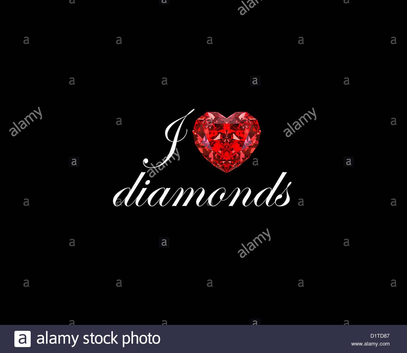 wallpaper with I LOVE DIAMONDS Red diamond heart Stock Photo 1300x1130