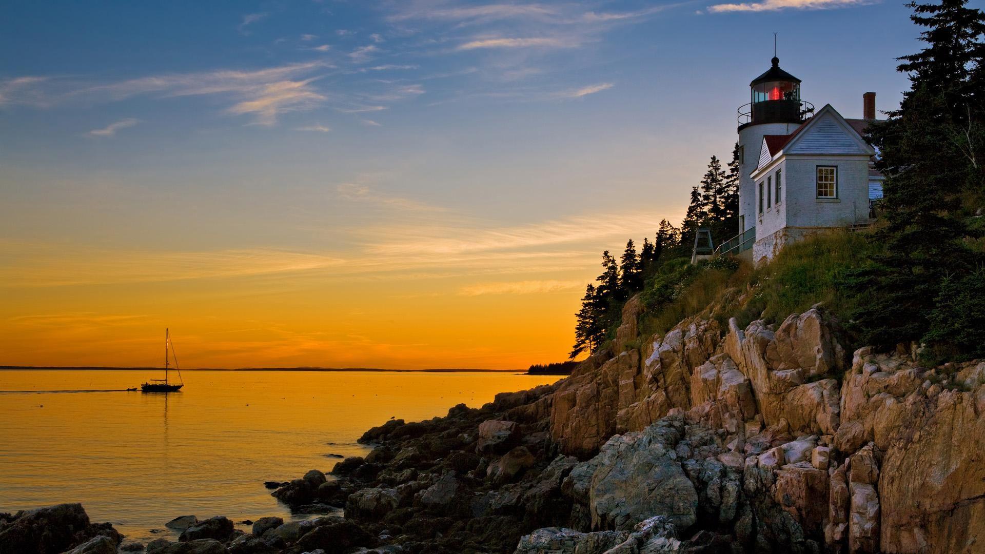 HD Bass Harbor Lighthouse Acadia National Park Maine Wallpaper 1920x1080