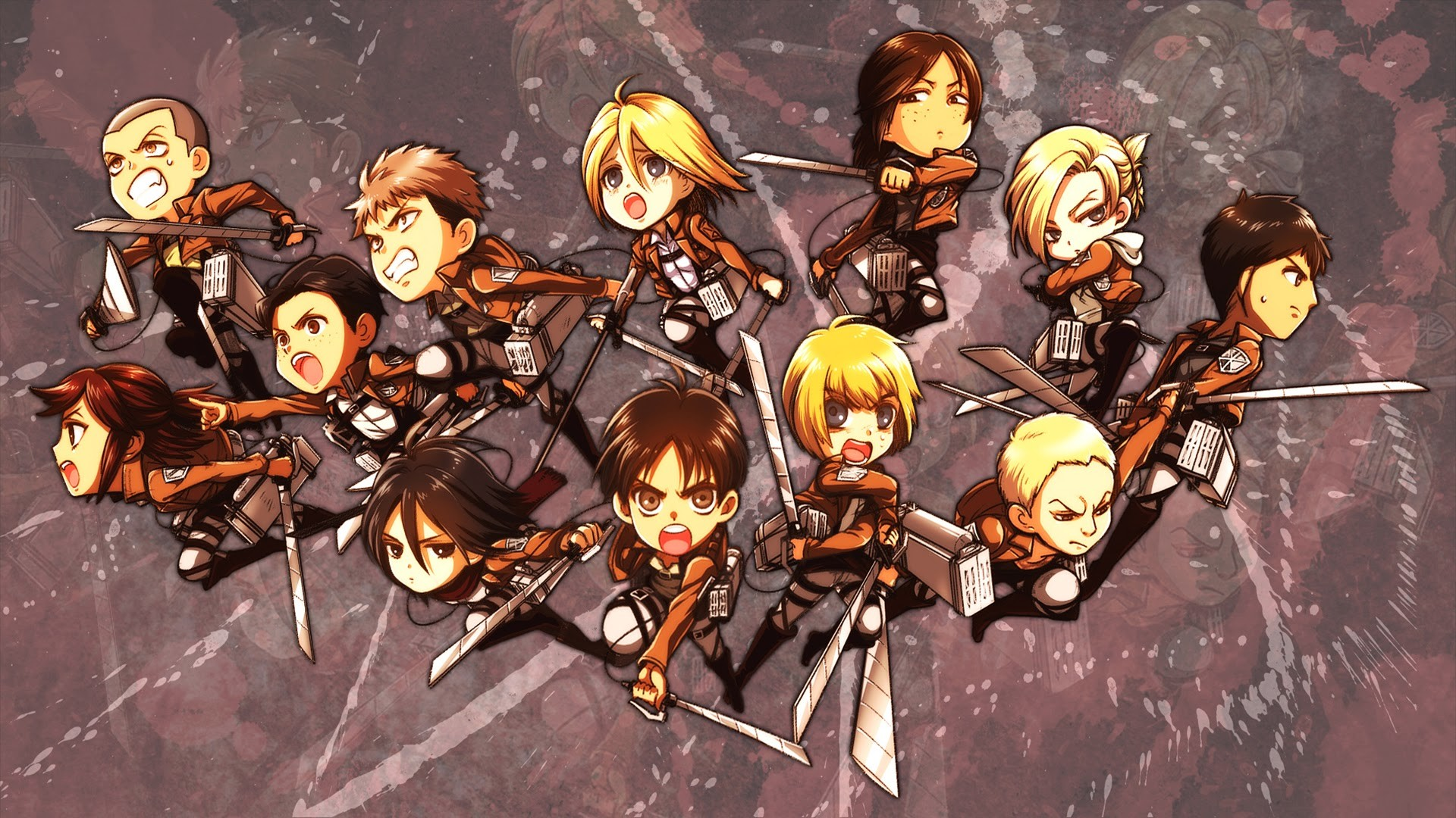 Attack on Titan Chibi Wallpaper HD 63 images 1920x1080