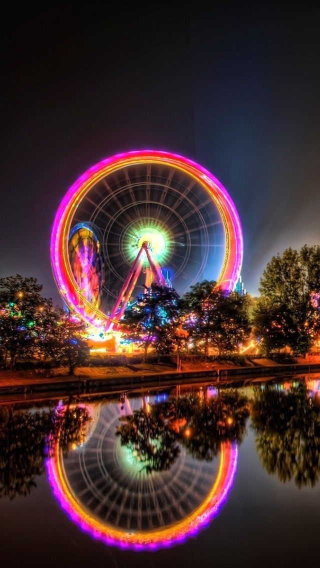 Carnival Ferris Wheel at night With images Iphone 5c wallpaper 640x1136
