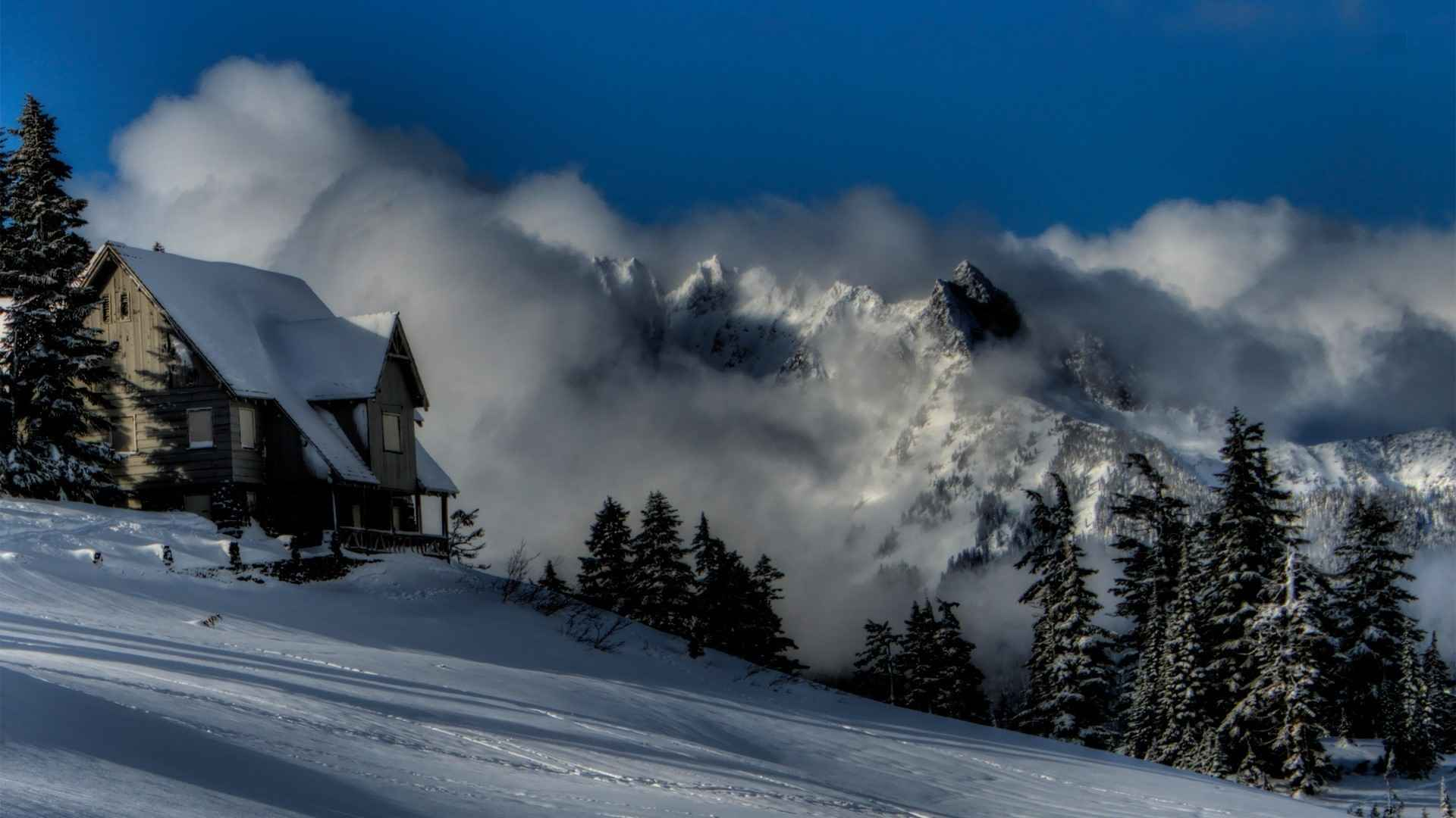 winter mountain cabin wallpaper wallpapersafari