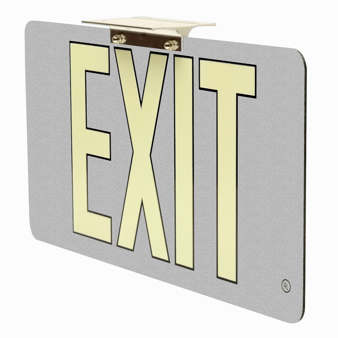 50 Ultra Thin Photoluminescent Exit Sign with Silver Background 1280x1280