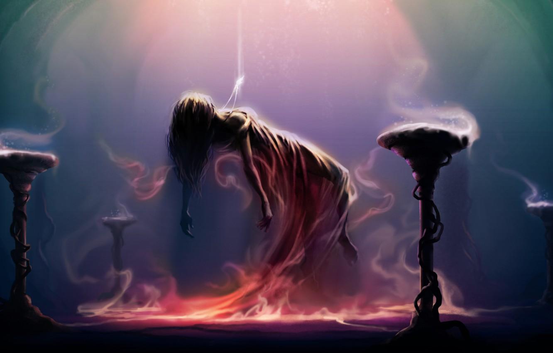 Wallpaper light magic Girl ritual pendant levitation images 1332x850