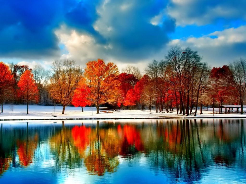 Snowy Autumn One HD Wallpaper Pictures Backgrounds FREE Download 1024x768