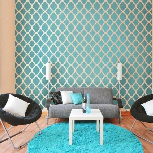 Moroccan Stencil Design Rabat LG   Reusable stencils for DIY wallpaper 500x500