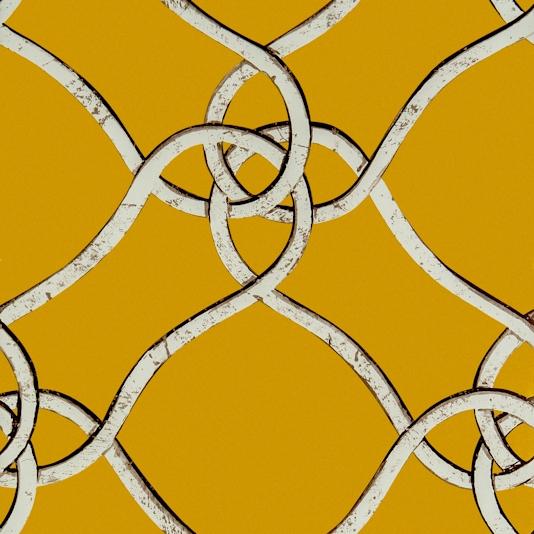 Verona by Gaston Silver Ironwork Trellis on Mustard Yellow Wallpaper 534x534