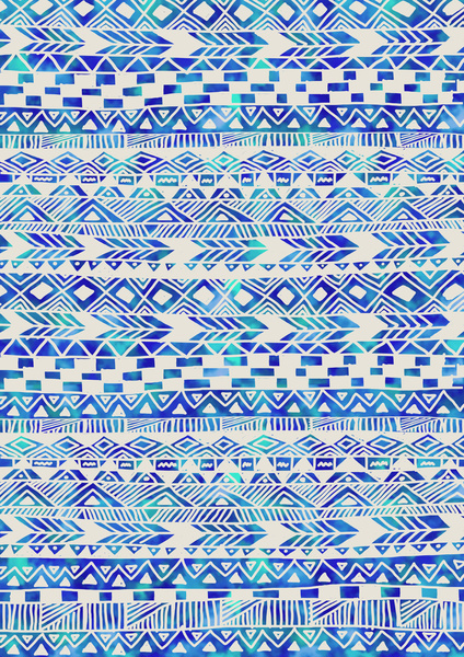 Blue Tribal Print Wallpaper Sky Art 424x600