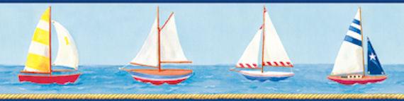 Dark Blue Sailboat Wallpaper Border SALE   Wall Sticker Outlet 570x143