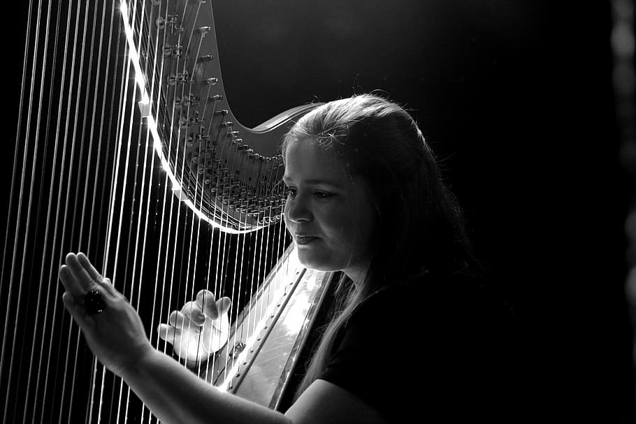 HD wallpaper woman playing harp grayscale photo music concert 910x607