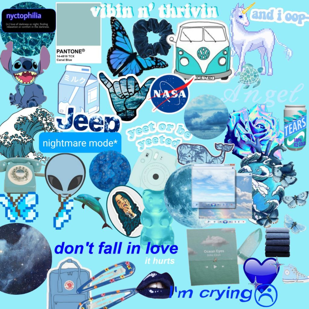 Blue Collage Wallpapers   Top Blue Collage Backgrounds 1024x1024