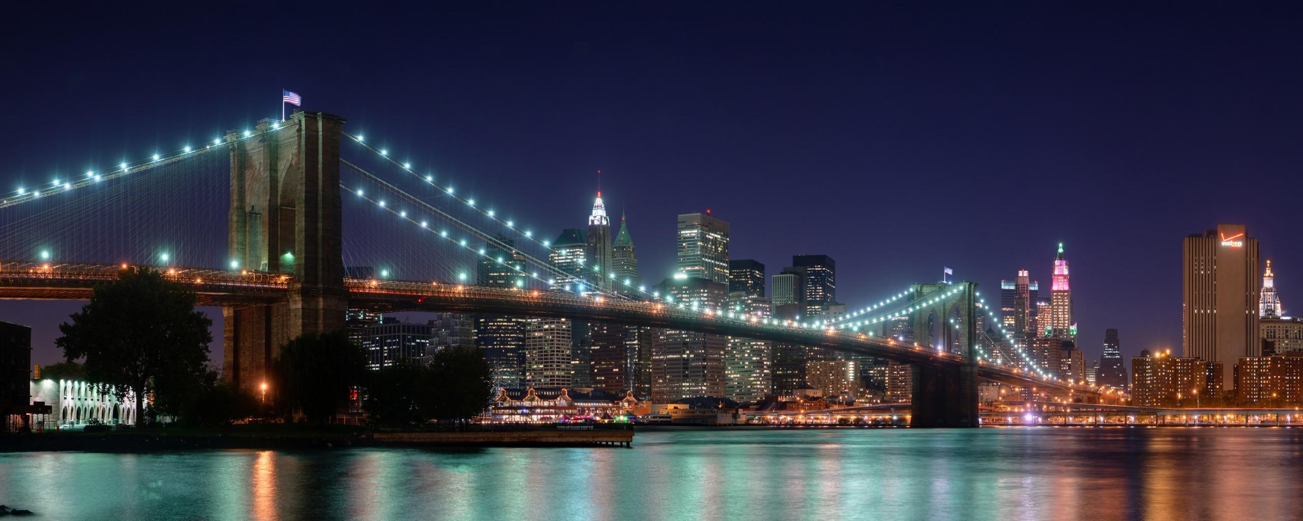 Brooklyn Bridge Panorama Dual Monitor Wallpapers HD Wallpapers 2560x1024