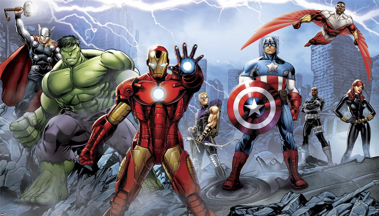 b904a4b1b3c New XL Avengers Assemble Prepasted Wallpaper Mural Marvel Heroes Wall  1280x731