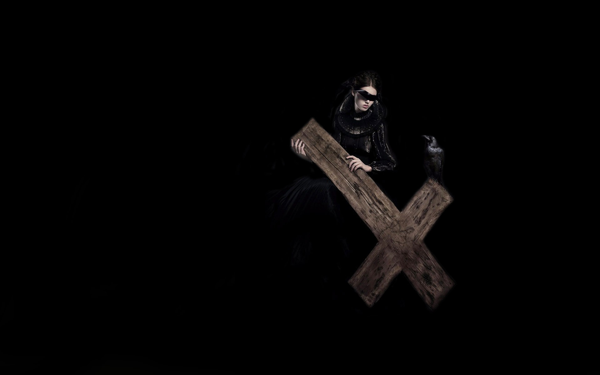 gothic cross evil woemn raven birds occult anti satan demon wallpaper 1920x1200