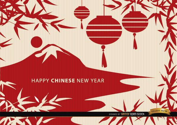 Chinese New Year Landscape Draw Wallpaper Vector 600x424