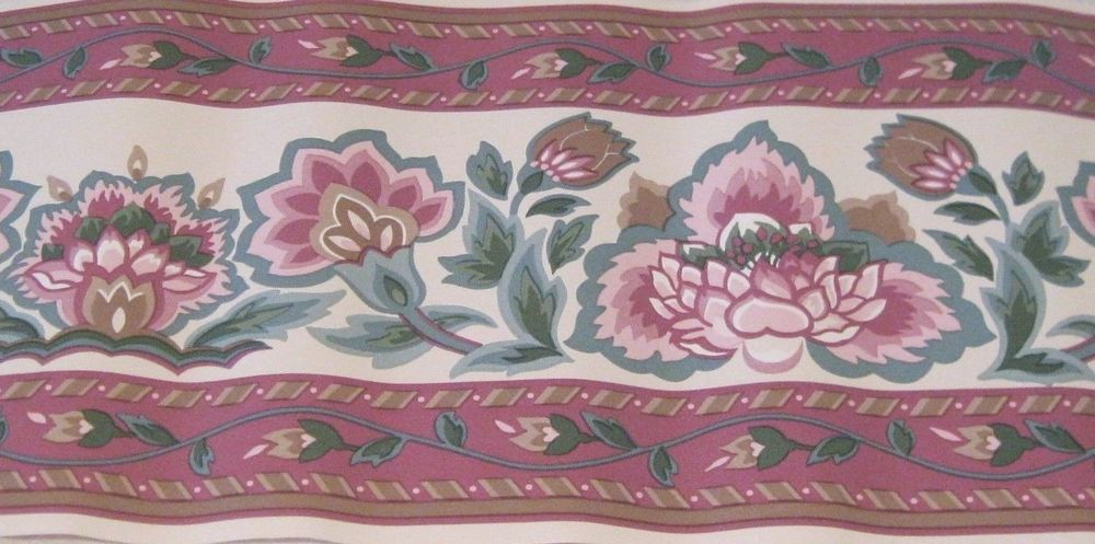 Wallpaper Border Flowers Burgundy Brown Taupe Green Blue Pink 555753 1000x497