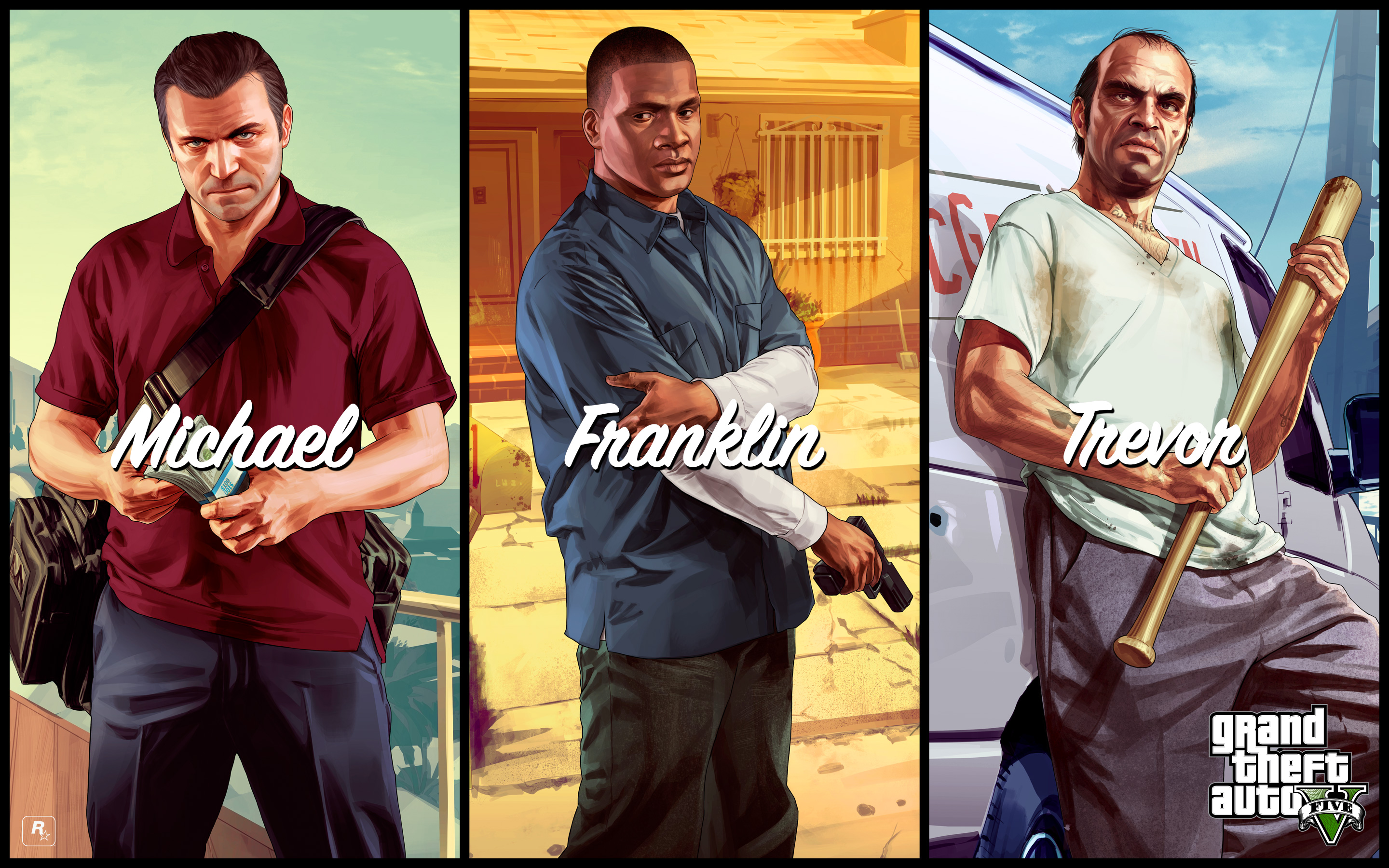 Download GTA 5 Michael Franklin Trevor HD Wallpaper 3781 Full Size 2880x1800
