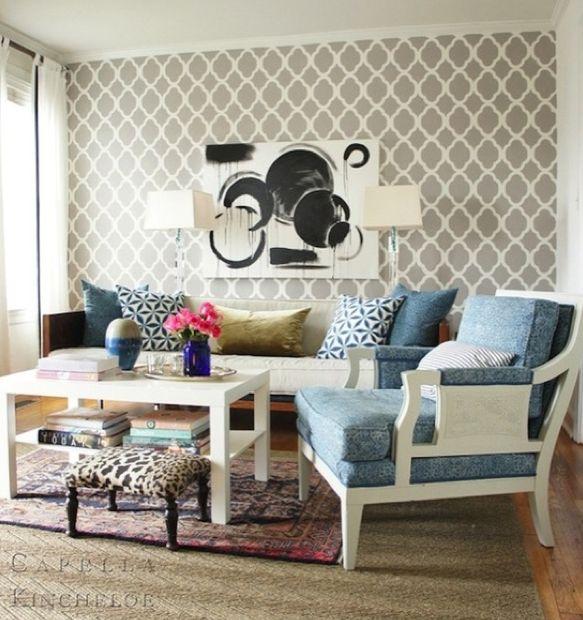 Gray geometric wallpaper accent wall Accent Walls Pinterest 583x620