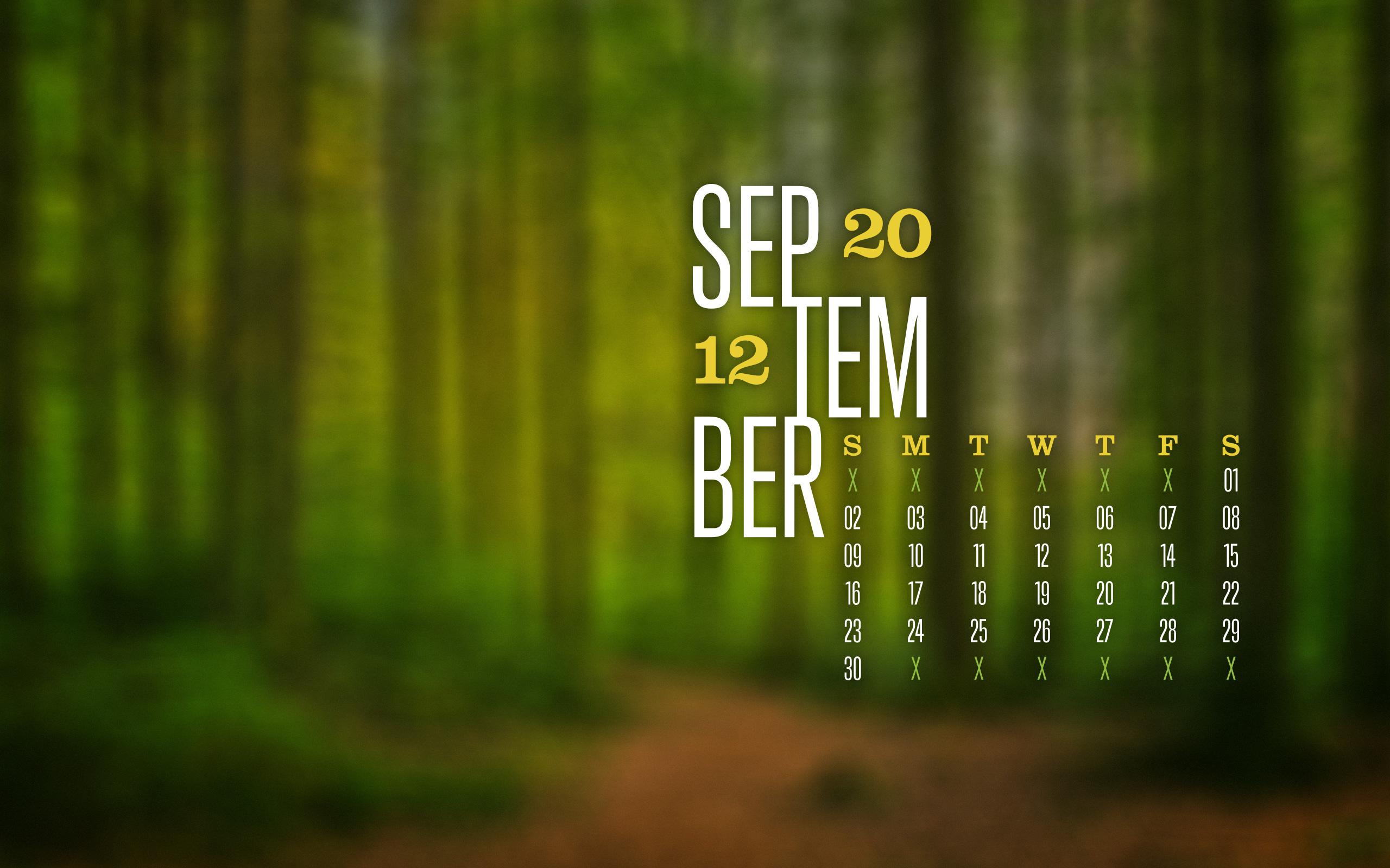 September 2012 Desktop Calendar Wallpaper Paper Leaf Design 2560x1600