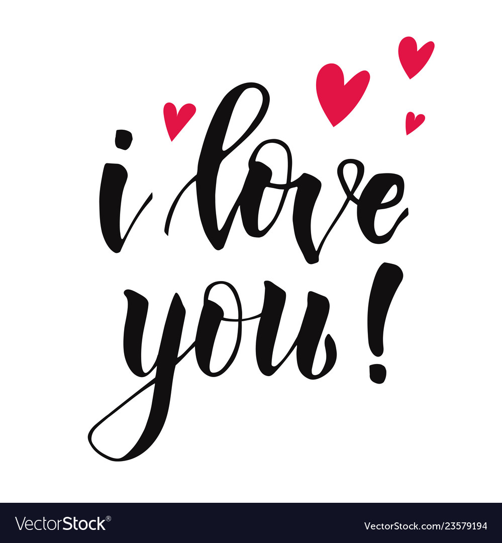 Cute lettering i love you decorated red hearts Vector Image 999x1080