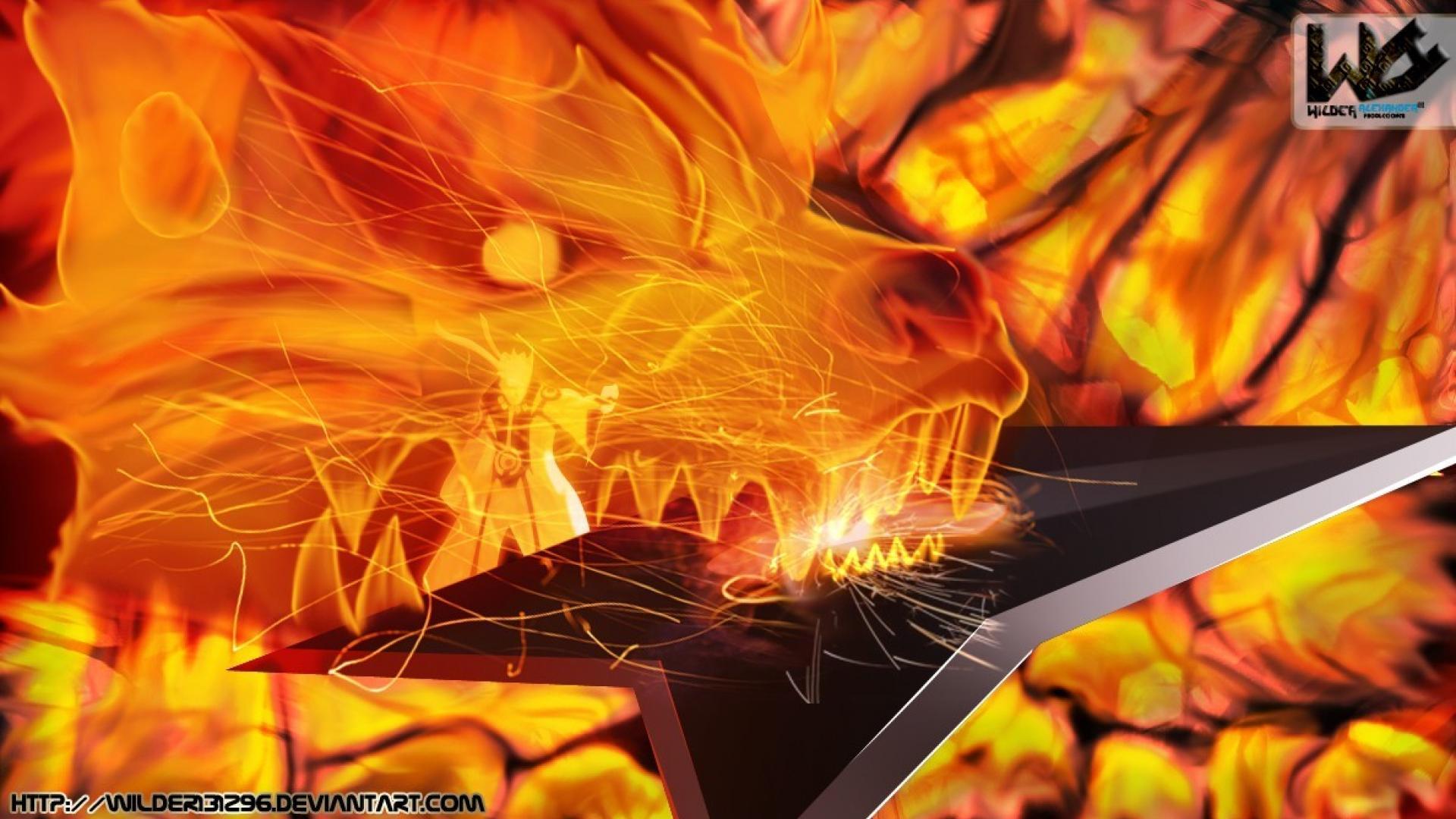Naruto shippuden kyuubi uzumaki naruto shuriken chakra mode wallpaper 1920x1080