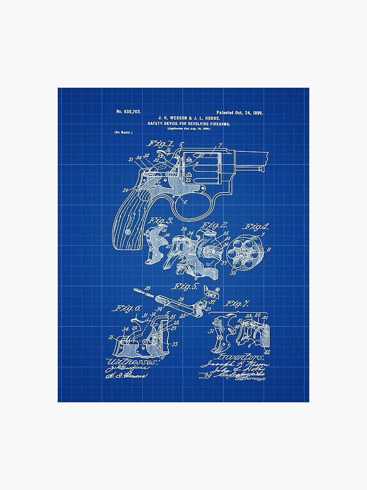 Smith and Wesson Hammerless Pistol 1898 Patent Poster Blueprint 750x1000