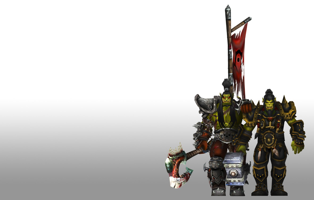 Wallpaper coat of arms brothers orcs wow world of warcraft 1332x850