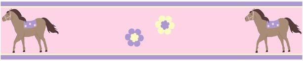 Pink Pony Horse Wallpaper Border for Girls Room 613x125