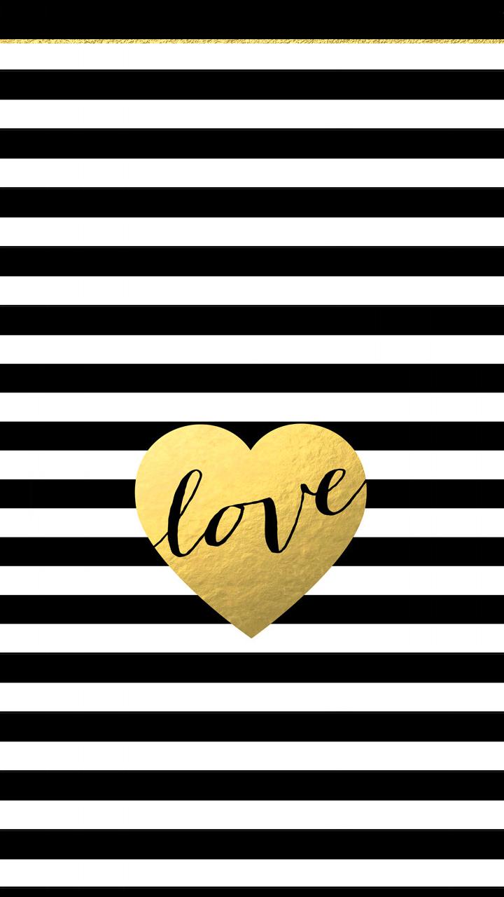 Black white stripes gold heart love iphone phone background 720x1280