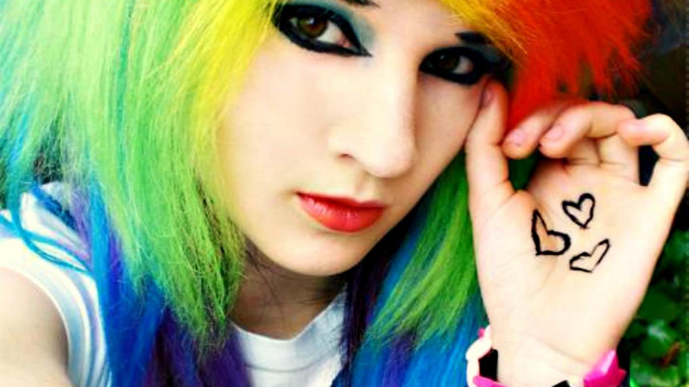 Download Emo Rainbow Girl HD Wallpaper Search more Emo Girls high 1366x768
