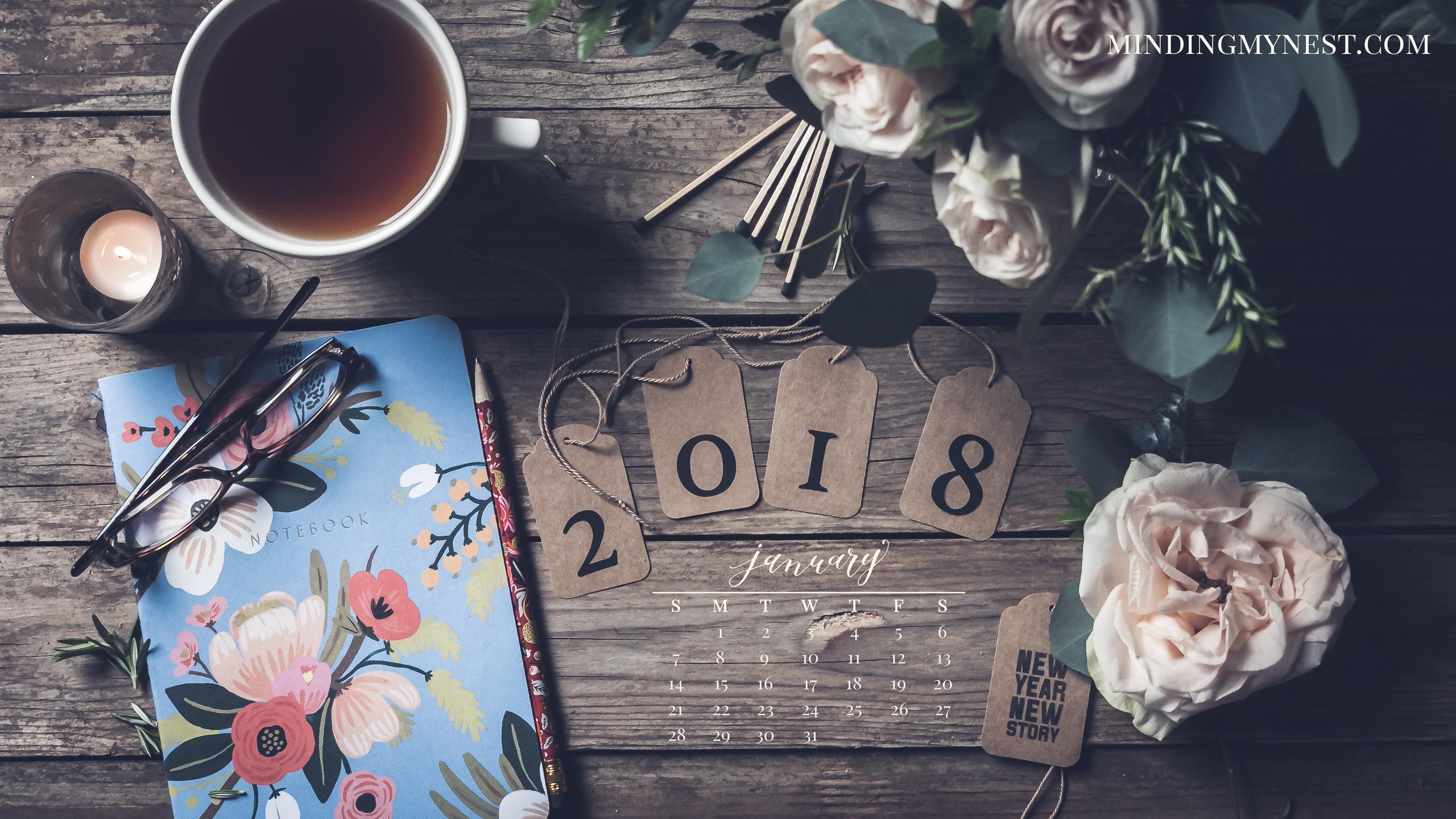 2018 Desktop Calendars   minding my nest 2560x1440