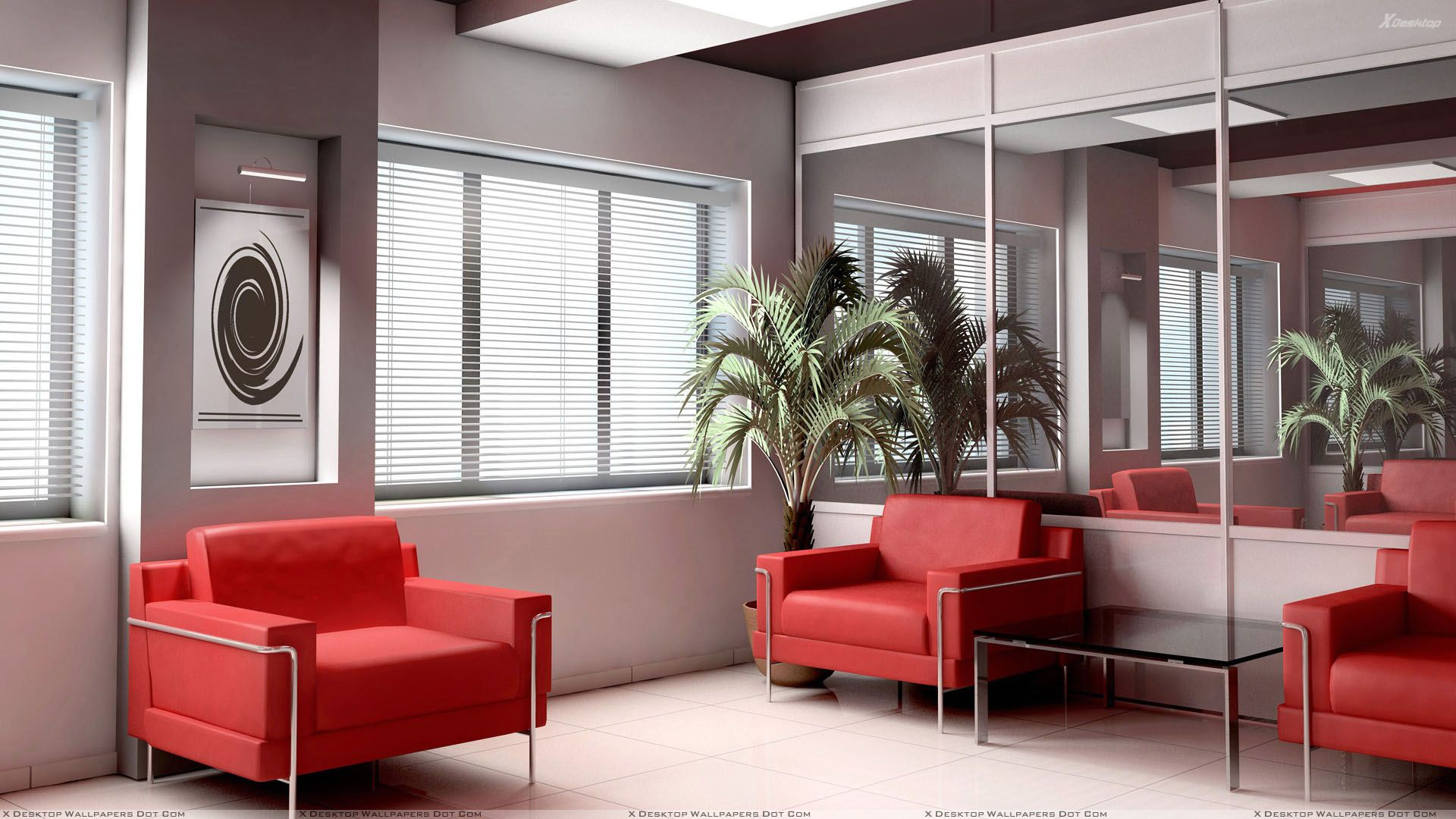 Red Sofa Set And White Background In Waiting Room Wallpaper 1920x1080