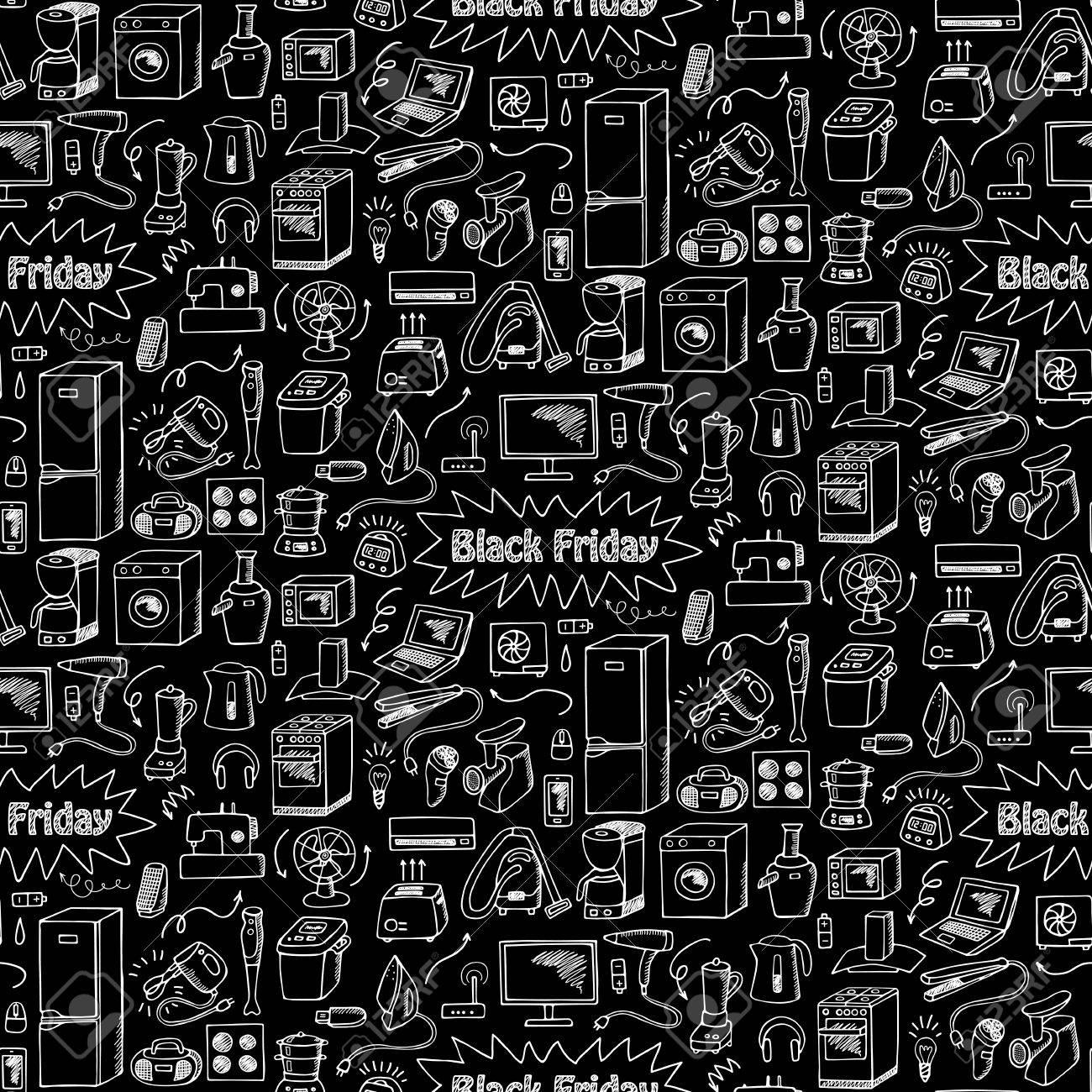 Black Friday Household Appliances Hand Drawn Seamless Pattern 1300x1300