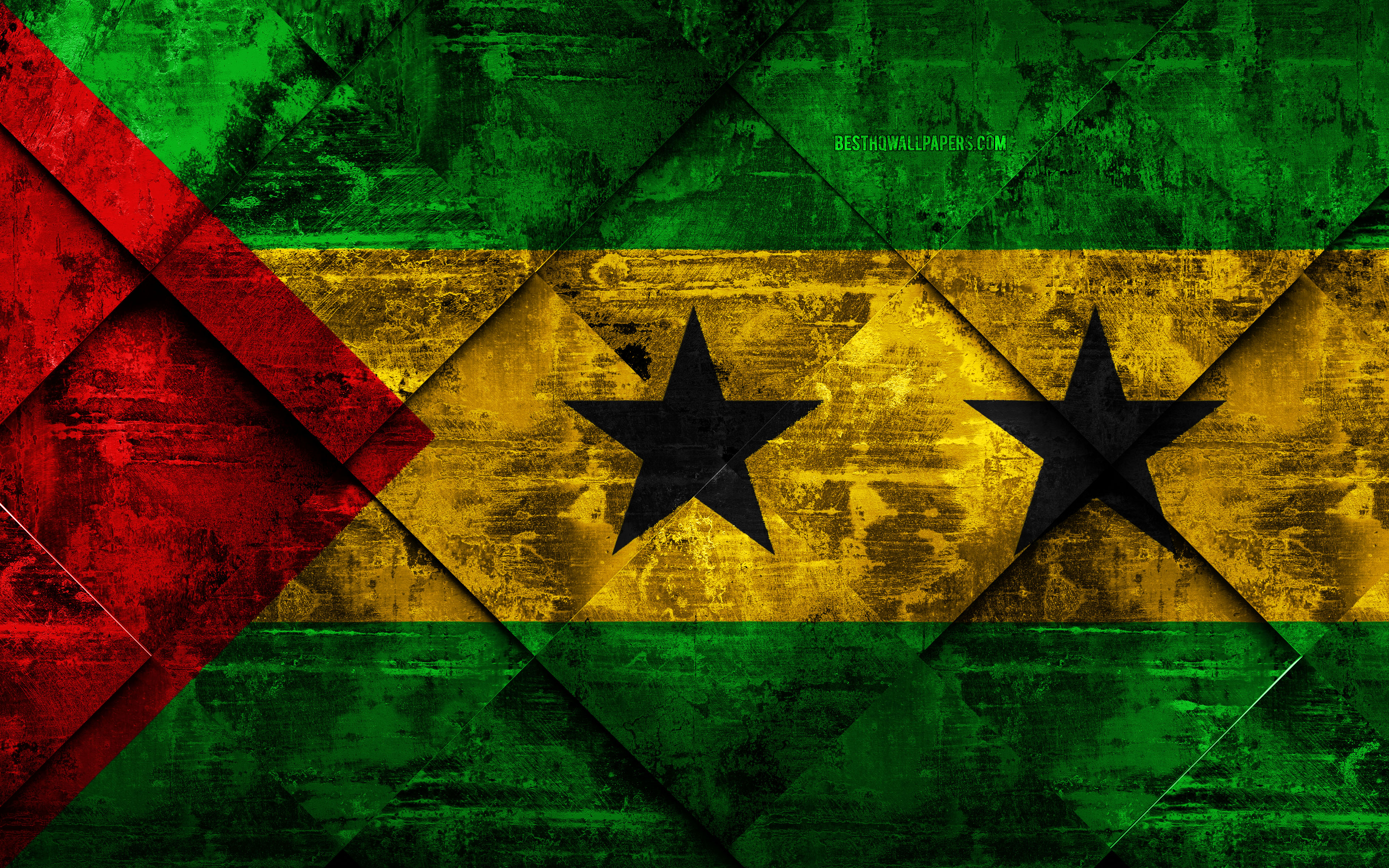 Download wallpapers Flag of Sao Tome and Principe 4k grunge art 3840x2400