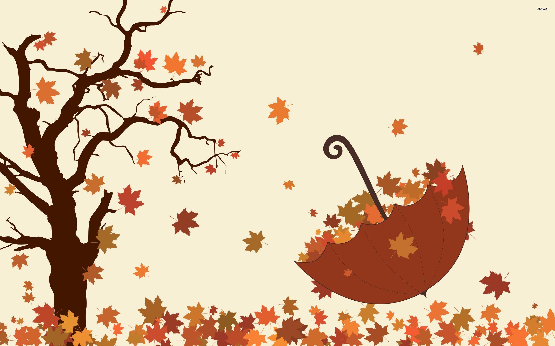 Umbrella and fallen leaves wallpaper   1009324 2880x1800