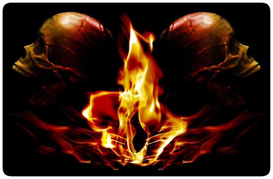 Cool Flaming Skull Wallpapers Flaming skulls by modernerd 900x590