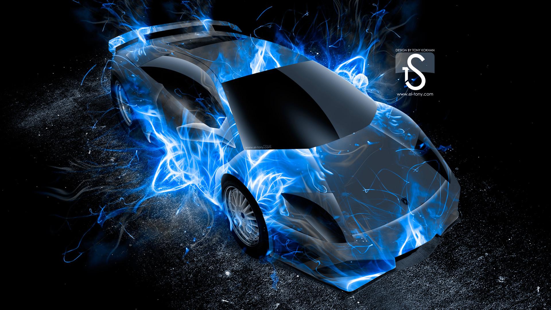 Blue Fire Hd Lamborghini murcielago up fire 1920x1080