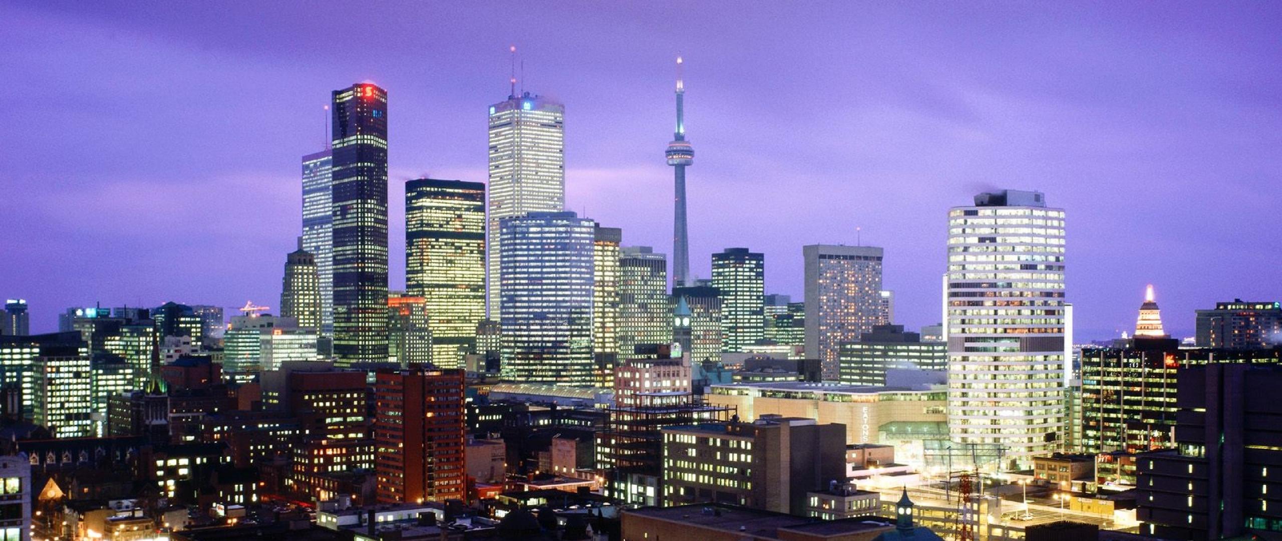 Toronto Canada Night City Lights Light Wallpaper Background 2560x1080
