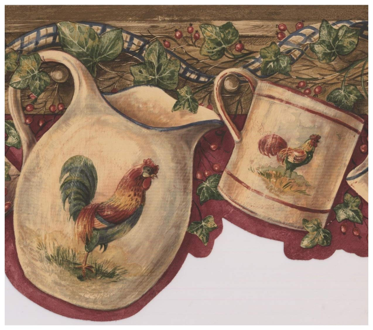 White Cup Kettle with Rooster Hanging on Hooks Red Berries Maroon 1274x1125