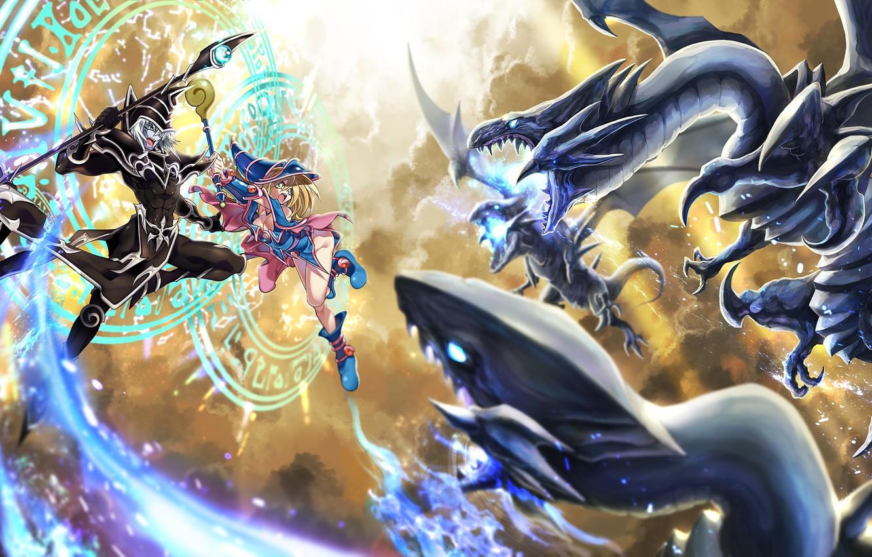 Wallpaper dragon anime art girl the battle Yu Gi Oh images 1332x850