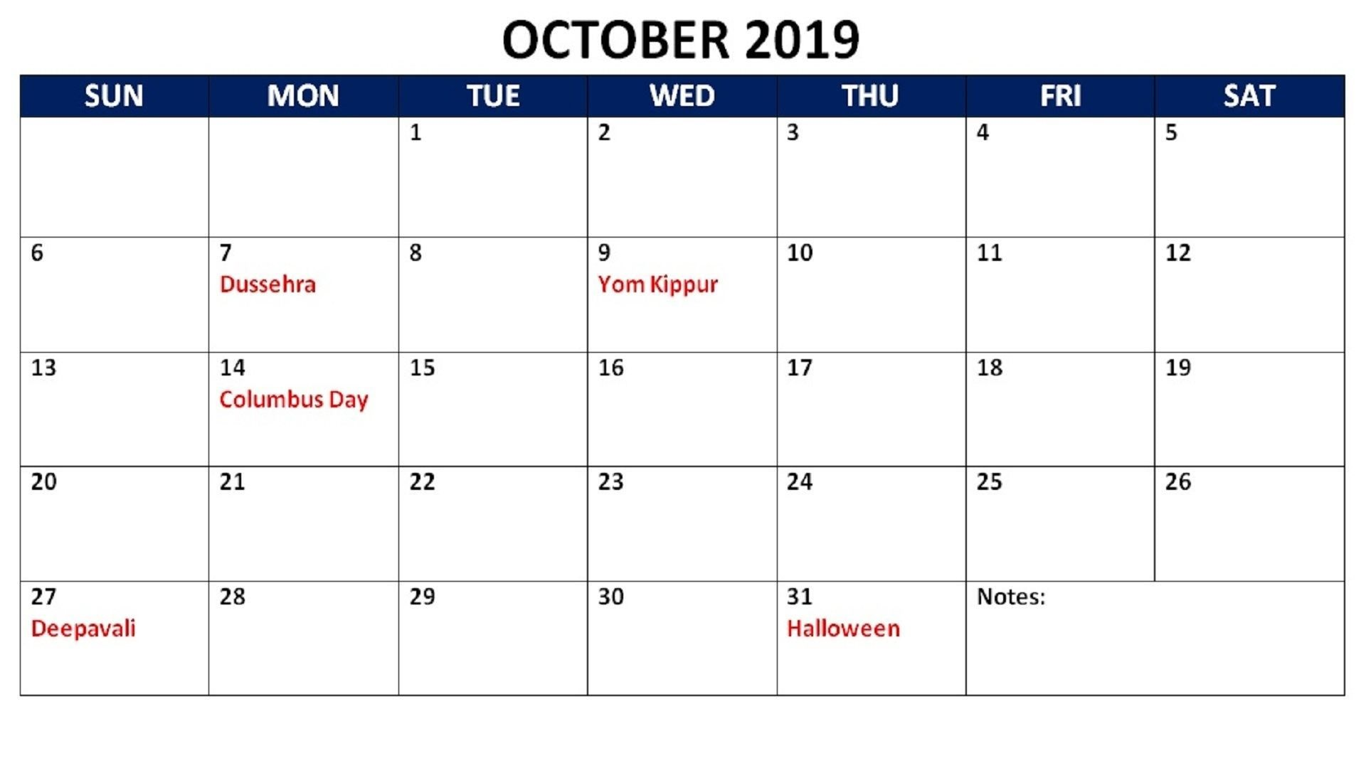 October 2019 Calendar Printable Wallpaper   Printable 1920x1080