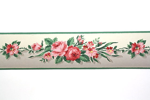 Full Vintage Wallpaper Border  TRIMZ   Pink Roses   Floral Border Pink 570x380